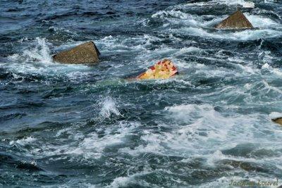 Bloc décoré en mer