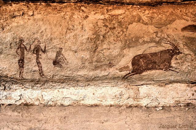 Tassili n'Ajjer : Jabbaren, scène de chasse à l'antilope